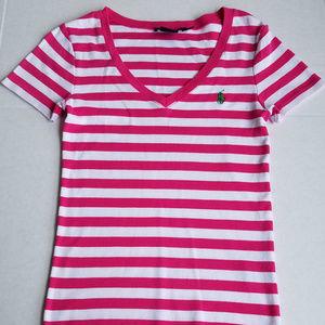 Ralph Lauren Polo Sport  Size M Pink & White